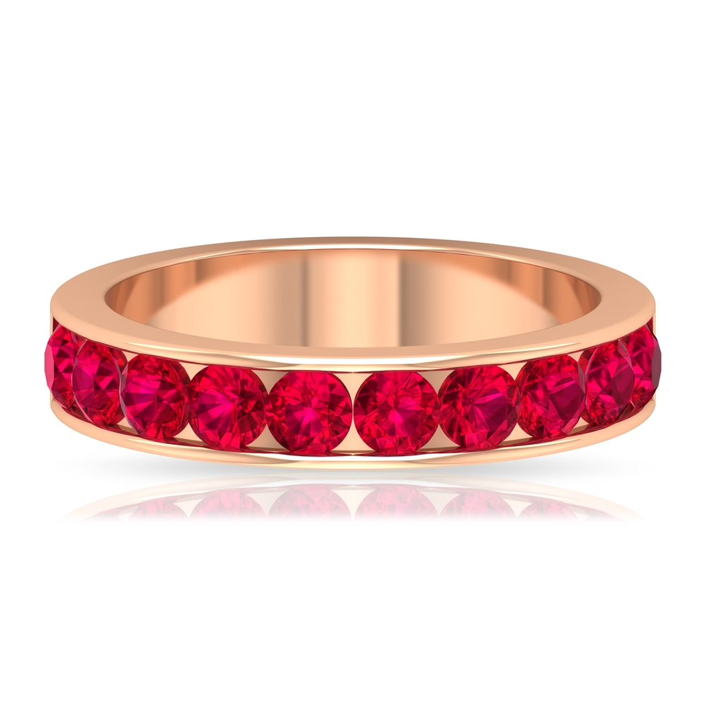 1.50 CT Channel Set Ruby Half Eternity Unisex Band Ring