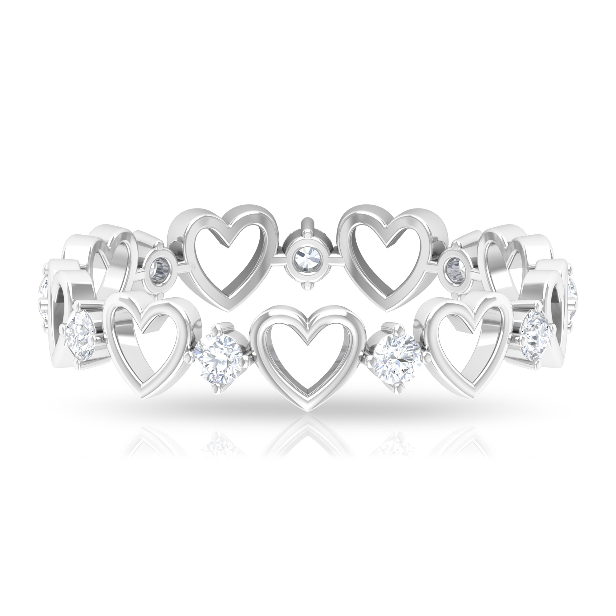 1/4 CT Diamond and Gold Open Heart Band Ring for Women