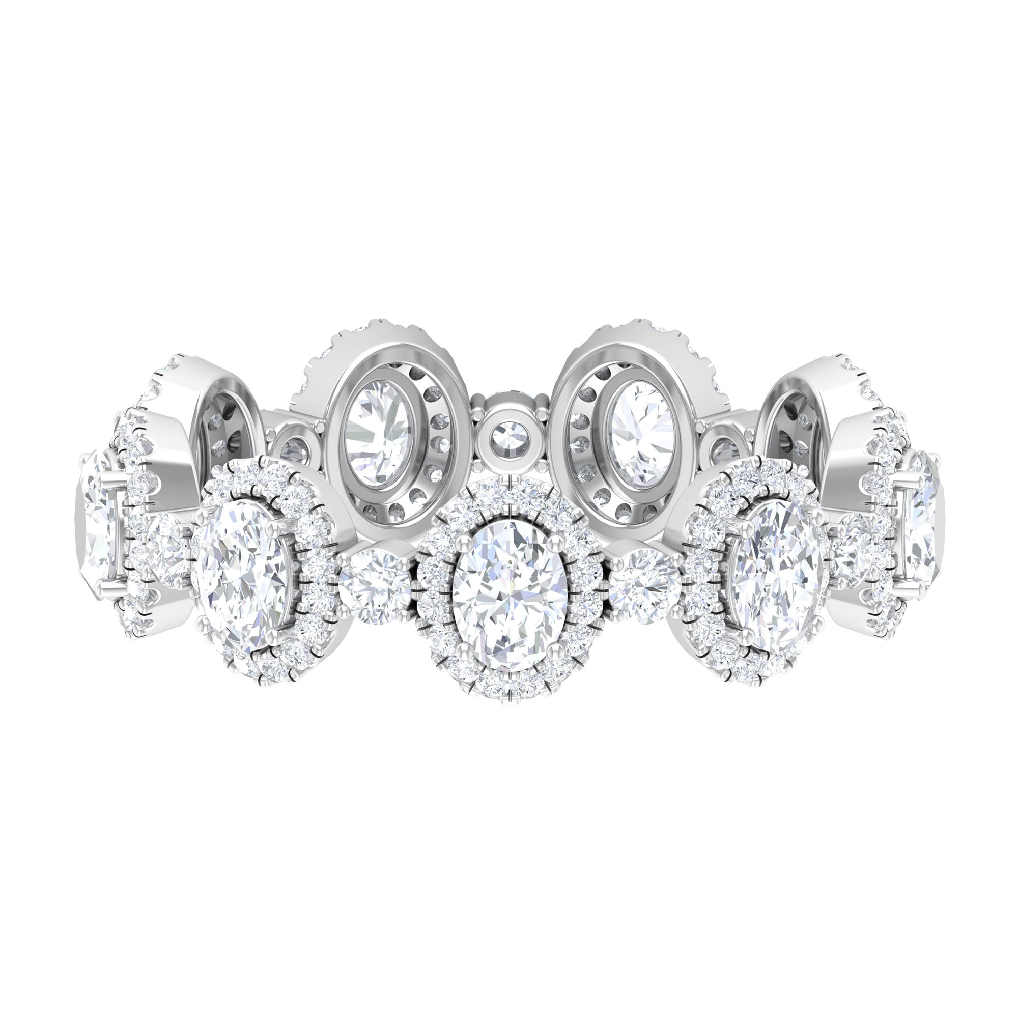 2.50 CT Oval and Round Cut Diamond Designer Halo Wedding Band Ring in Prong Setting