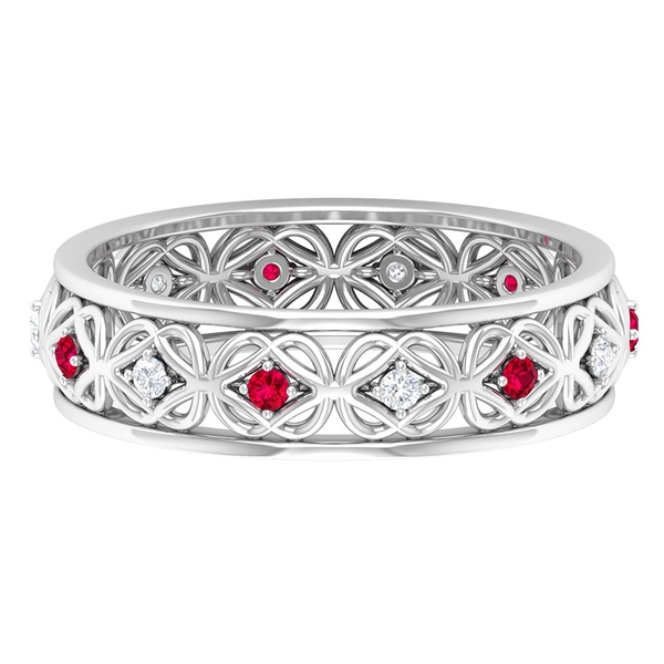 1/4 CT Ruby and Diamond Celtic Knot Band Ring for Women