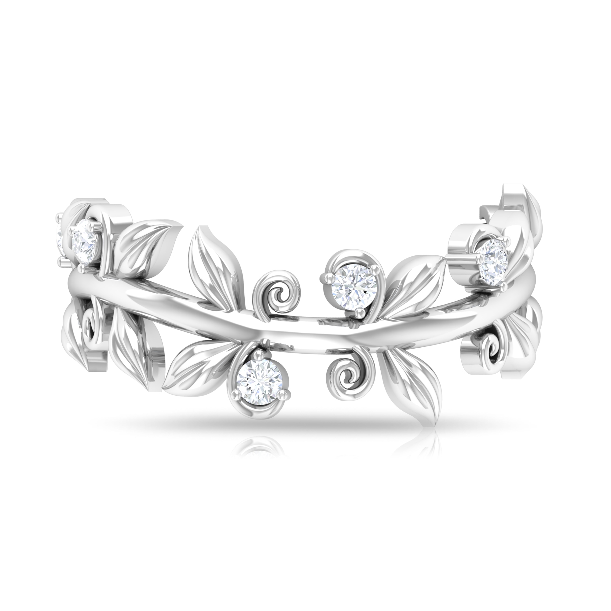 1/2 CT Prong Set Diamond and Gold Band Ring with Leaf Motif