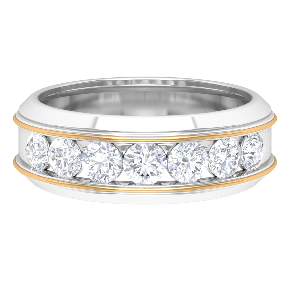 1.25 CT Diamond Unisex Band Ring in Graduated Style with Seven Stone