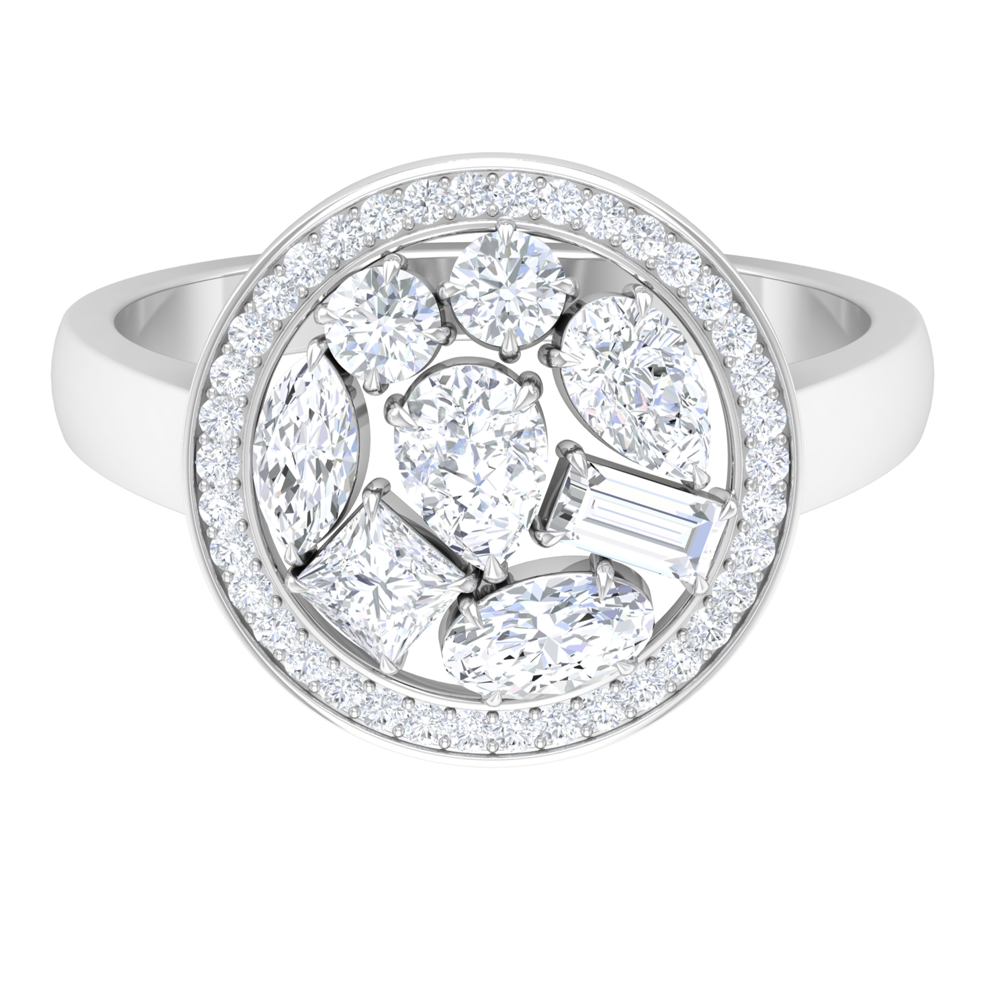 1.50 CT Prong Set Diamond Engagement Ring with Cluster Halo