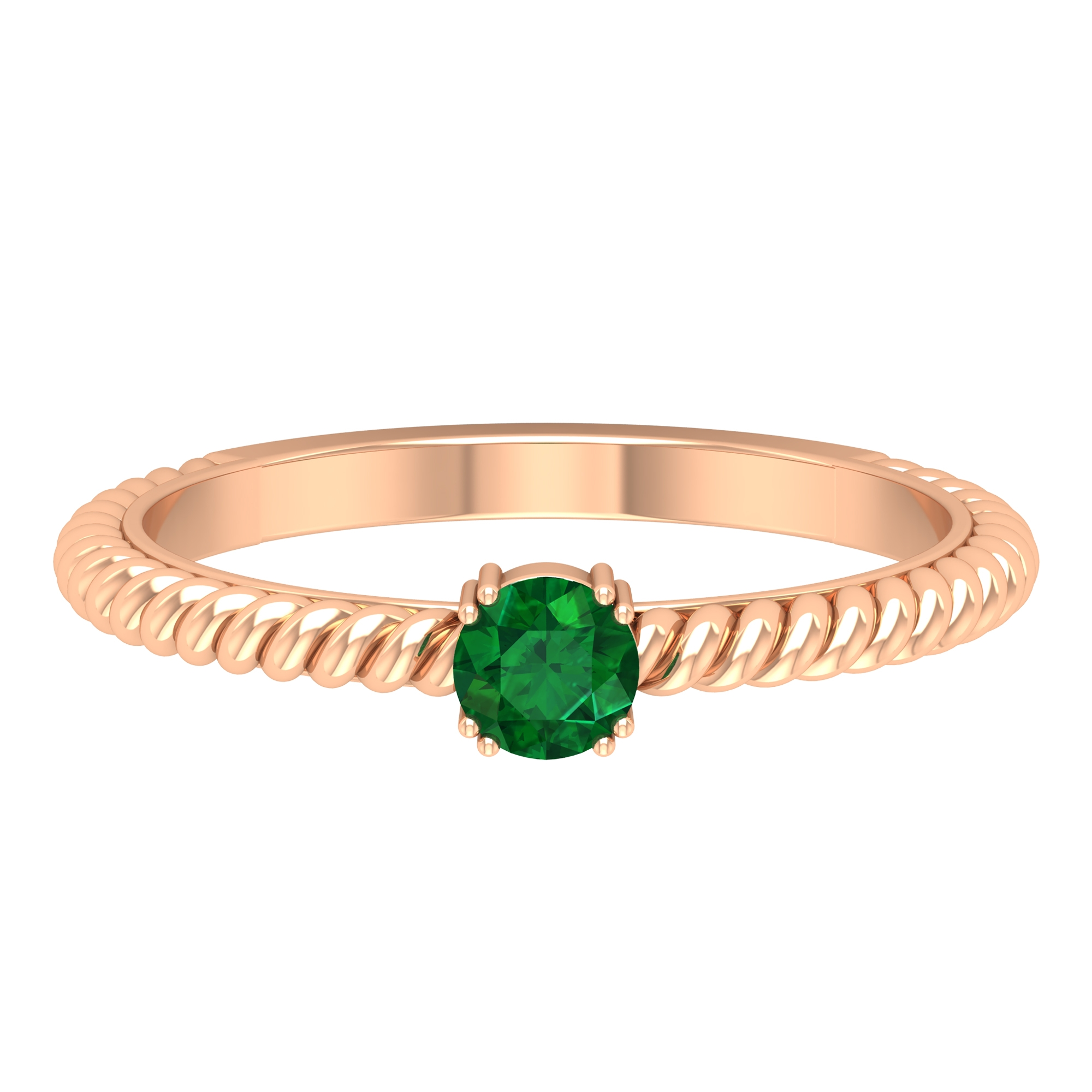 May Birthstone 4 MM Round Cut Emerald Solitaire Ring in Double Prong Setting with Twisted Rope Frame