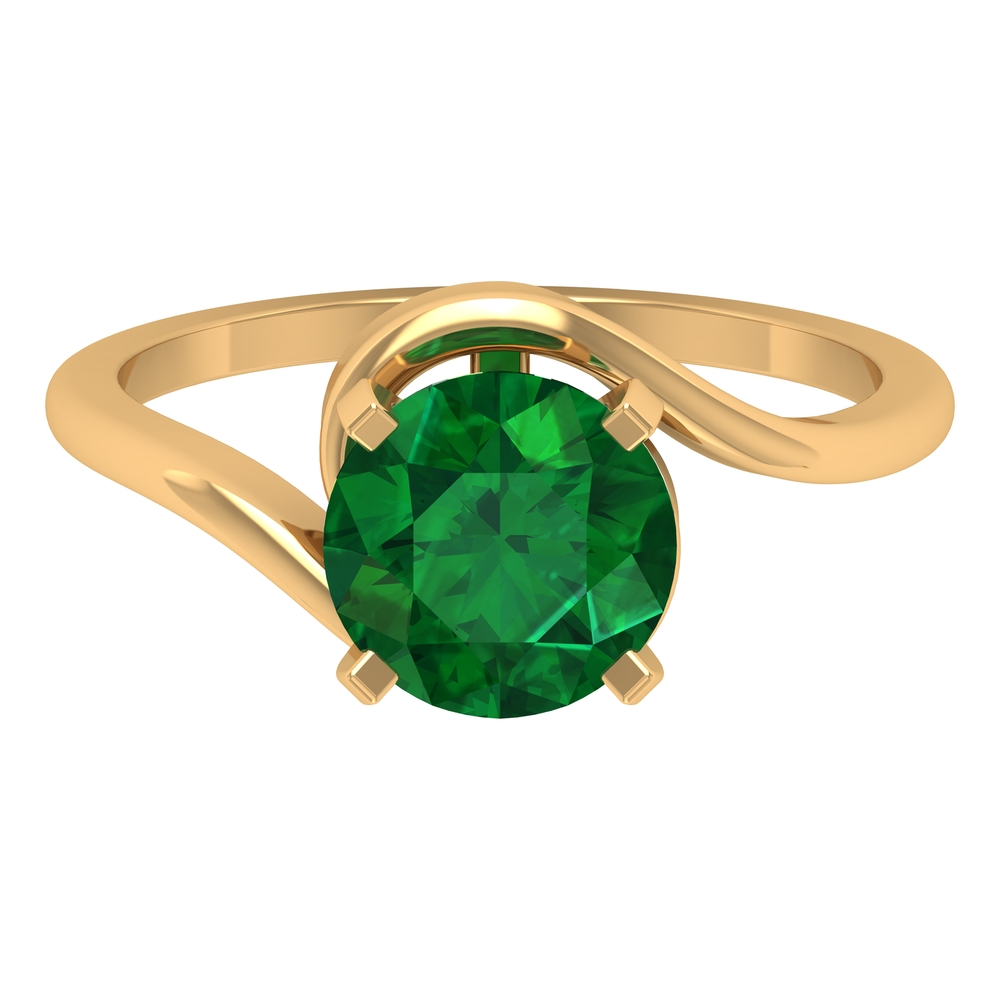May Birthstone 8 MM Emerald Solitaire Ring in Square Prong Setting with Bypass Shank