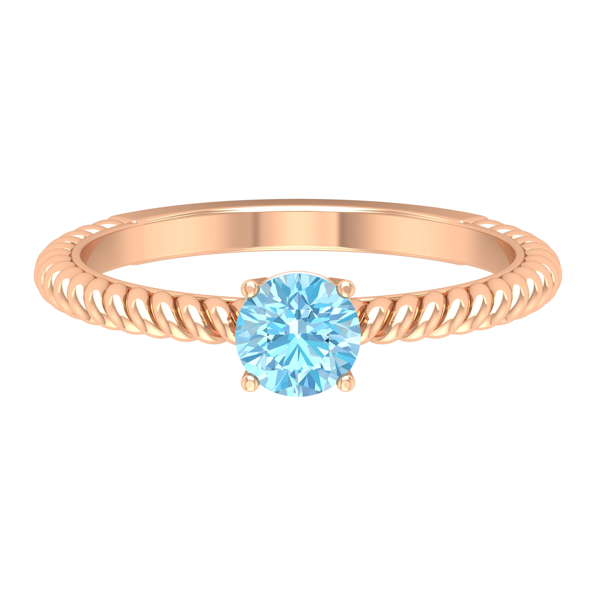 5 MM Four Prong Set Round Cut Aquamarine Solitaire Ring with Twisted Rope Shank