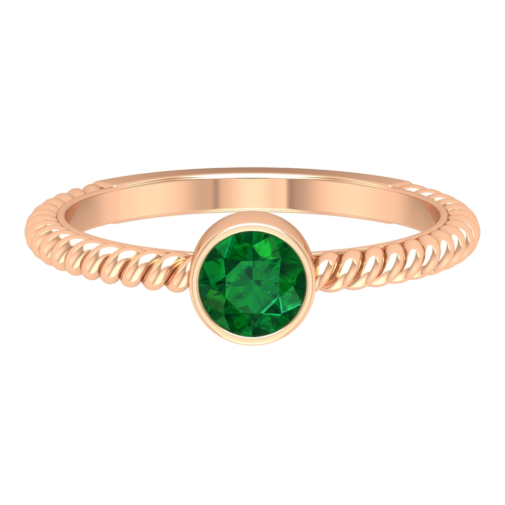 May Birthstone 5 MM Round Cut Emerald Solitaire Ring in Bezel Setting with Twisted Rope Frame