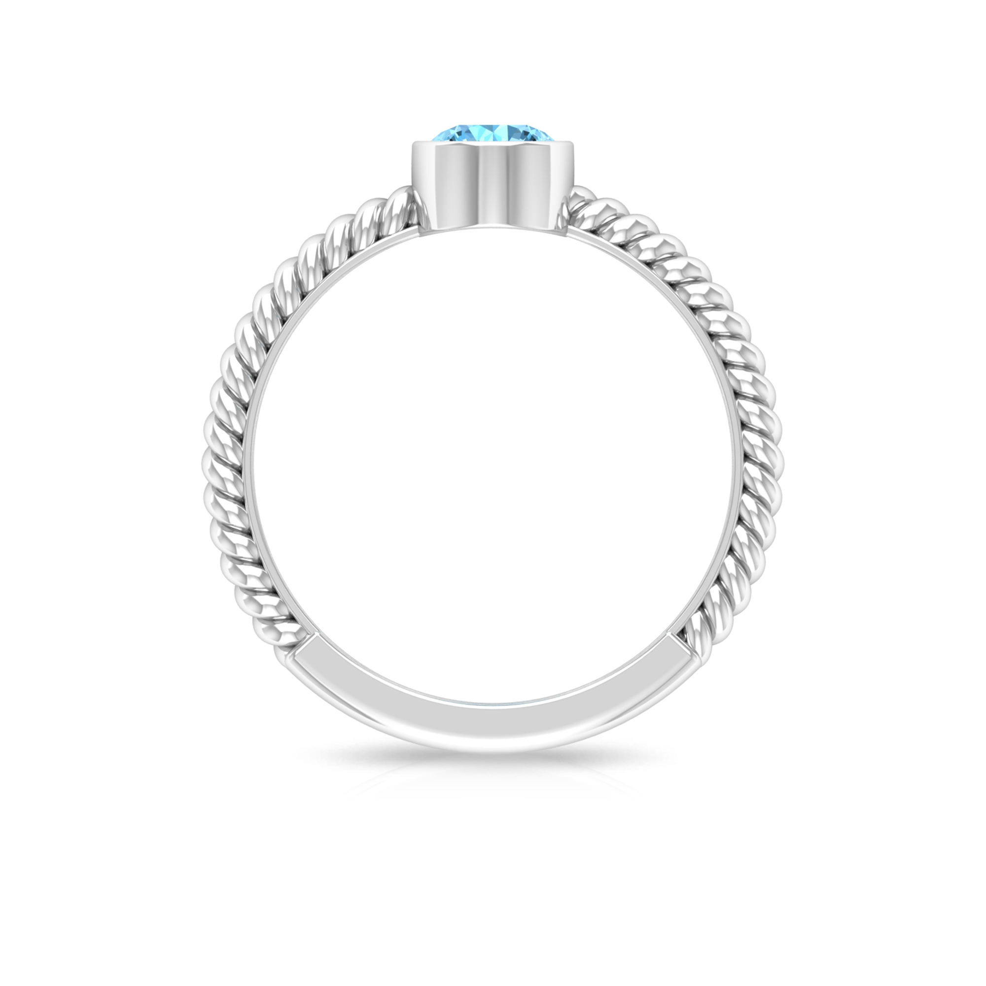 5 MM Round Cut Aquamarine Solitaire Bezel Set Ring with Twisted Rope Shank