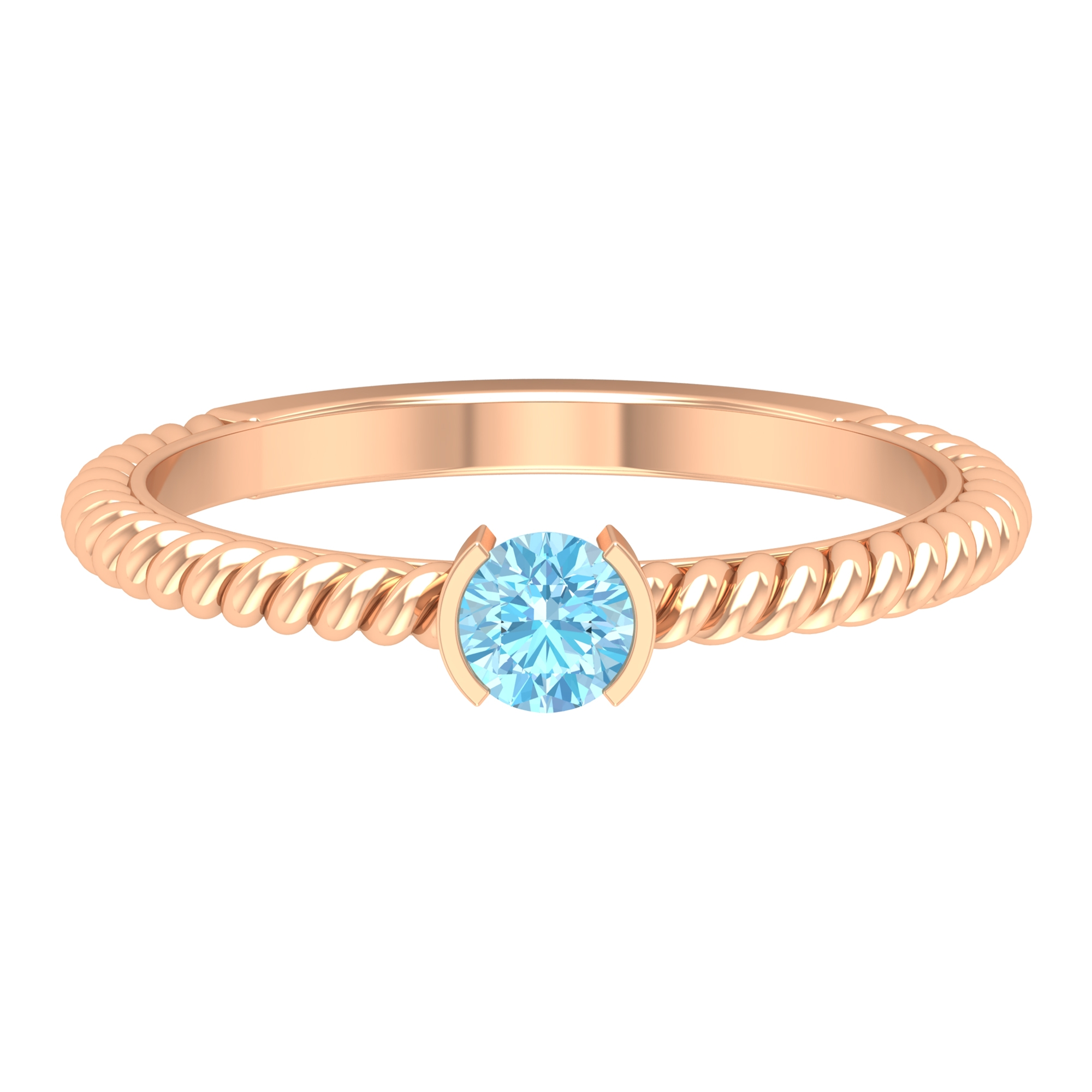 5 MM Round Cut Aquamarine Solitaire Half Bezel Set Ring with Twisted Rope Shank