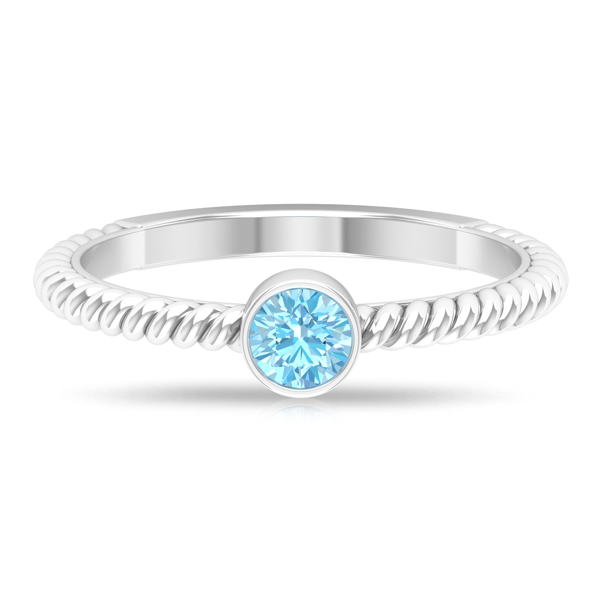 4 MM Round Cut Aquamarine Solitaire Bezel Set Ring with Twisted Rope Shank
