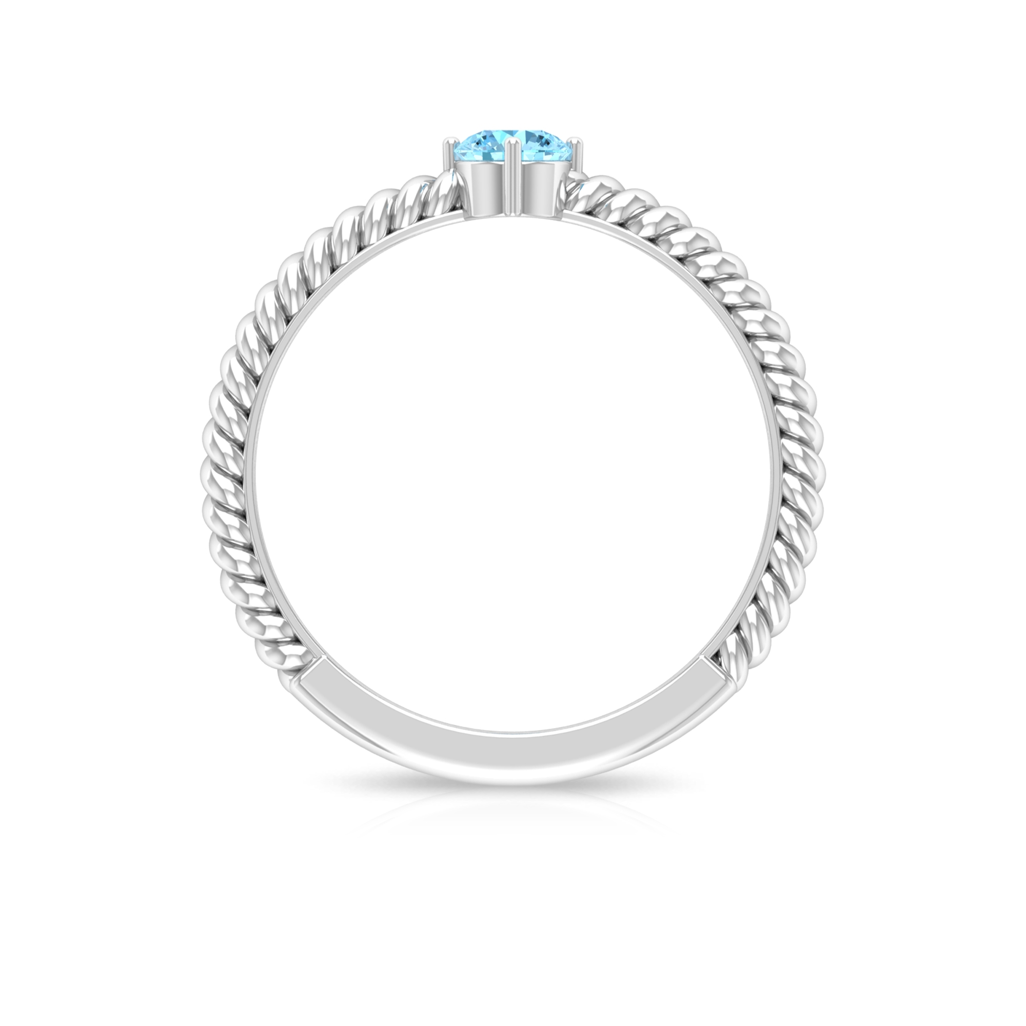 4 MM Round Cut Aquamarine Solitaire Four Prong Diagonal Set Ring with Twisted Rope Shank