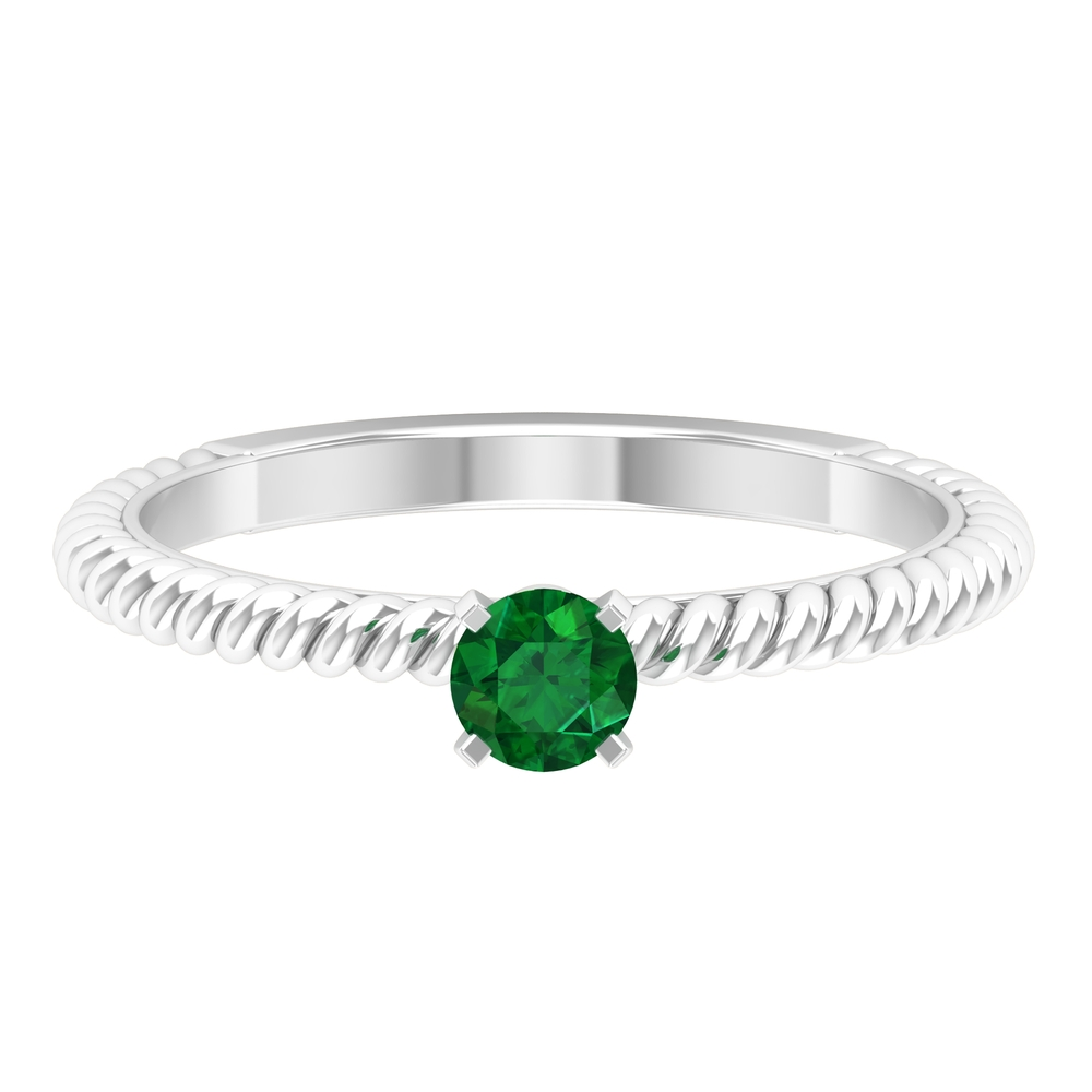 May Birthstone 4 MM Round Cut Emerald Solitaire Ring in Peg Head Setting with Twisted Rope Frame