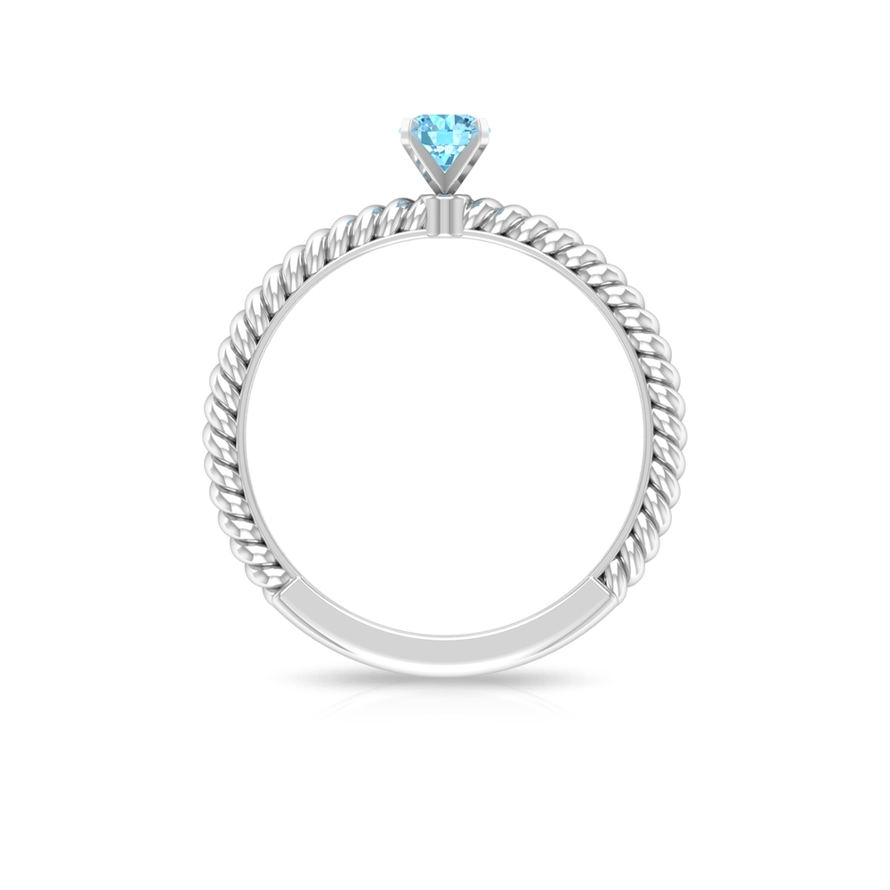 4 MM Peg Head Set Round Cut Aquamarine Solitaire Ring with Twisted Rope Shank