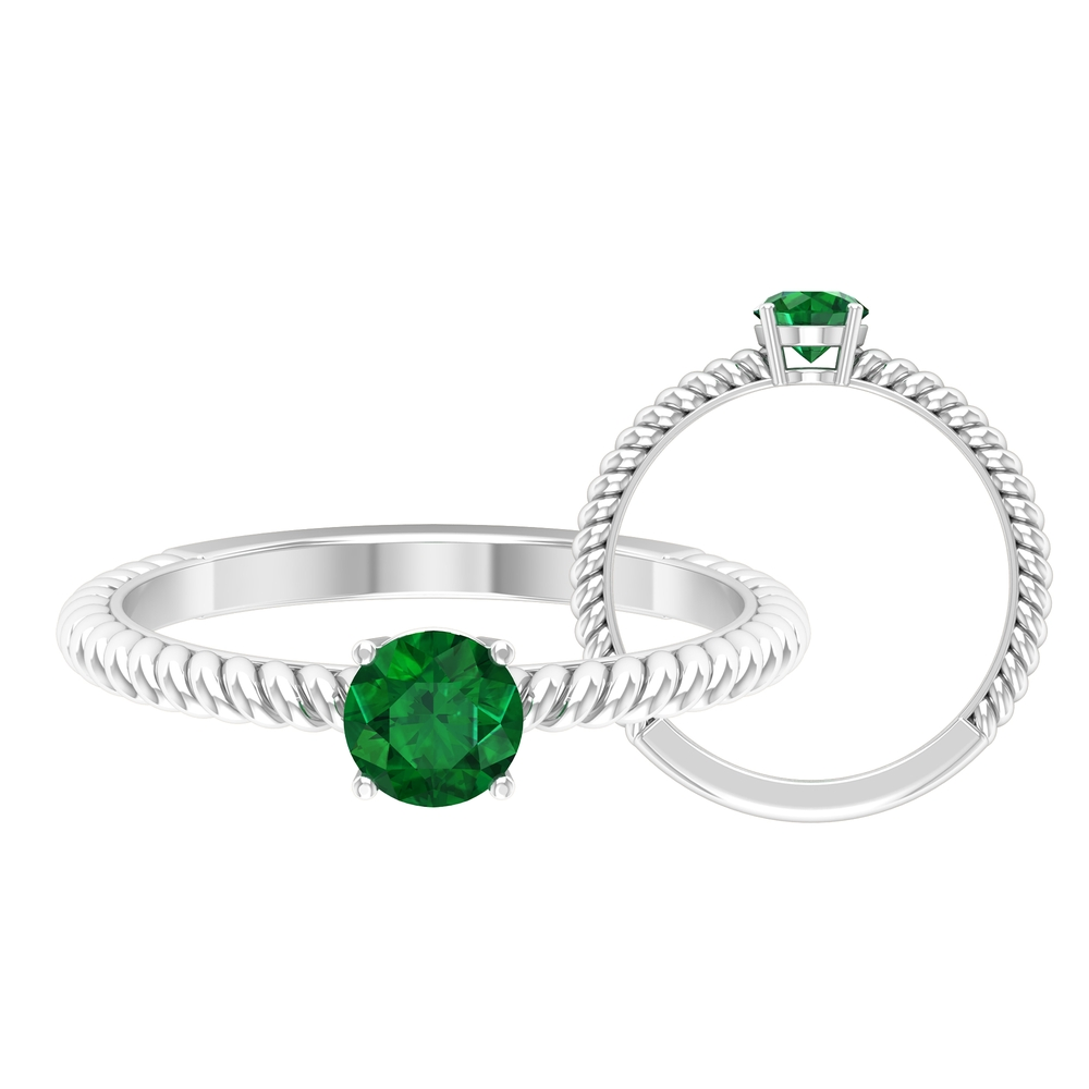 May Birthstone 5 MM Emerald Solitaire Ring in 4 Prong Setting with Twisted Rope Frame