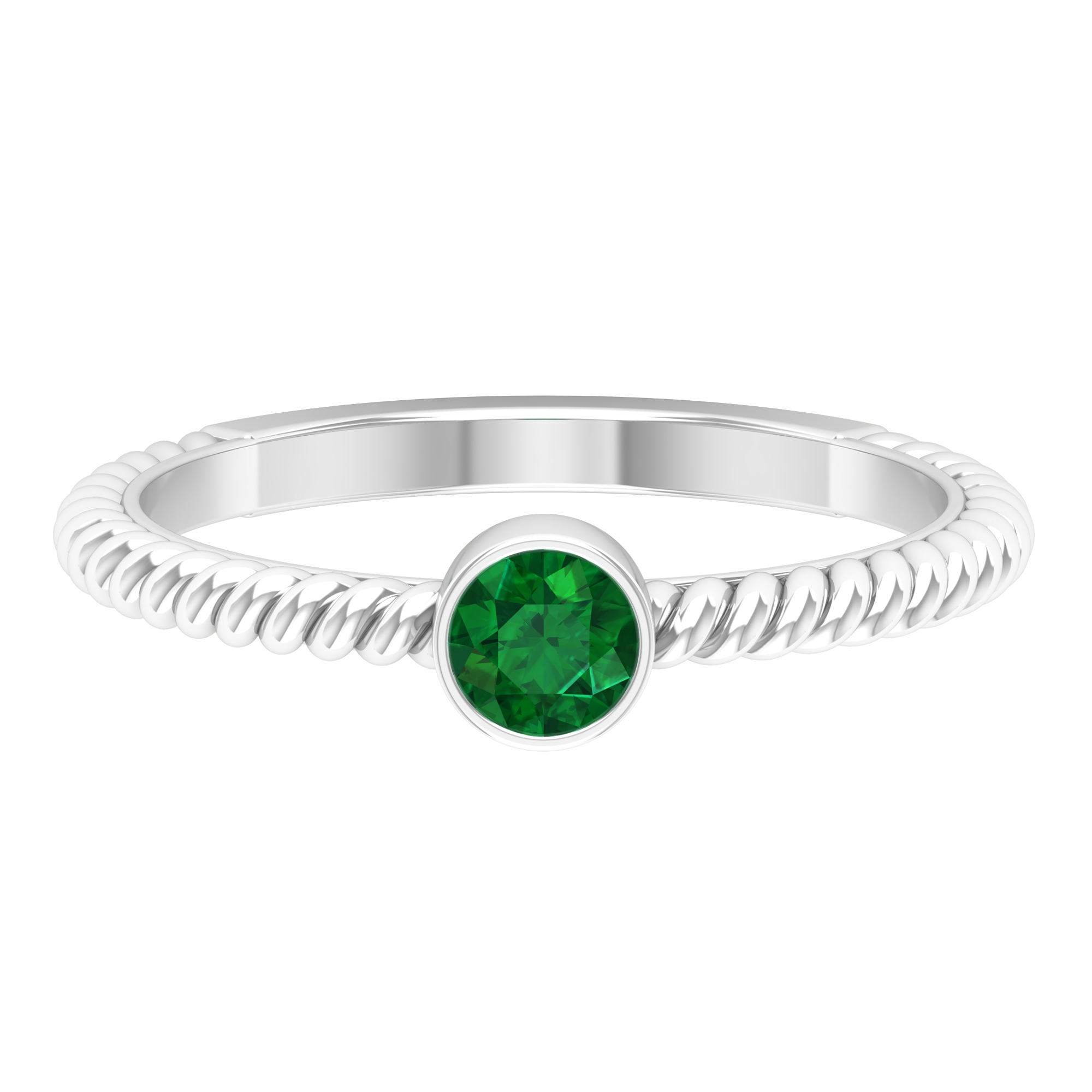 May Birthstone 4 MM Emerald Solitaire Ring in Bezel Setting with Twisted Rope Frame