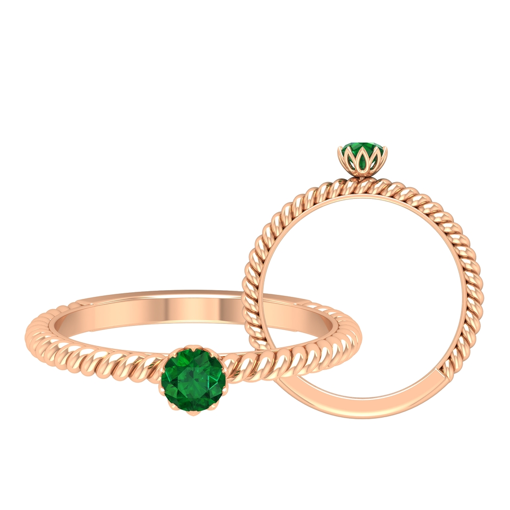 May Birthstone 4 MM Emerald Solitaire Ring in Lotus Basket Setting with Twisted Rope Frame