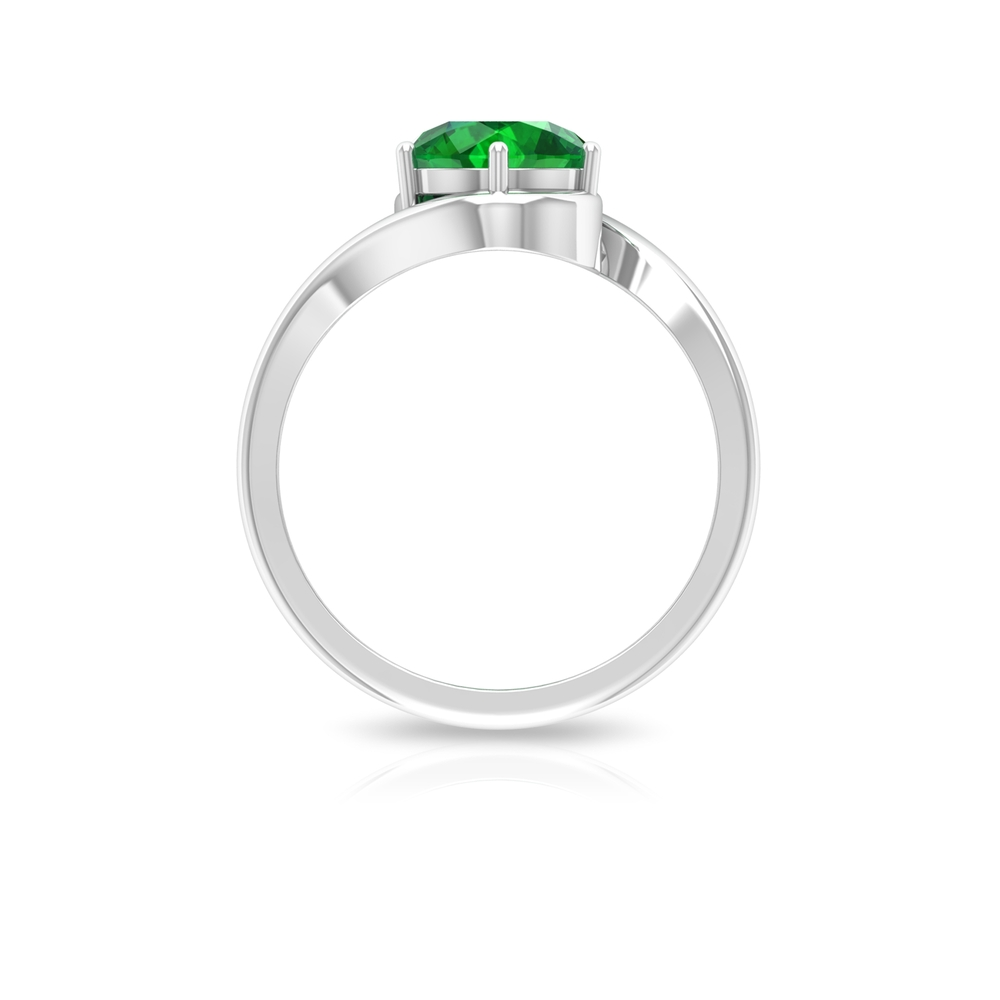 May Birthstone 8 MM Emerald Solitaire Ring in 6 Prong Setting with Bypass Shank