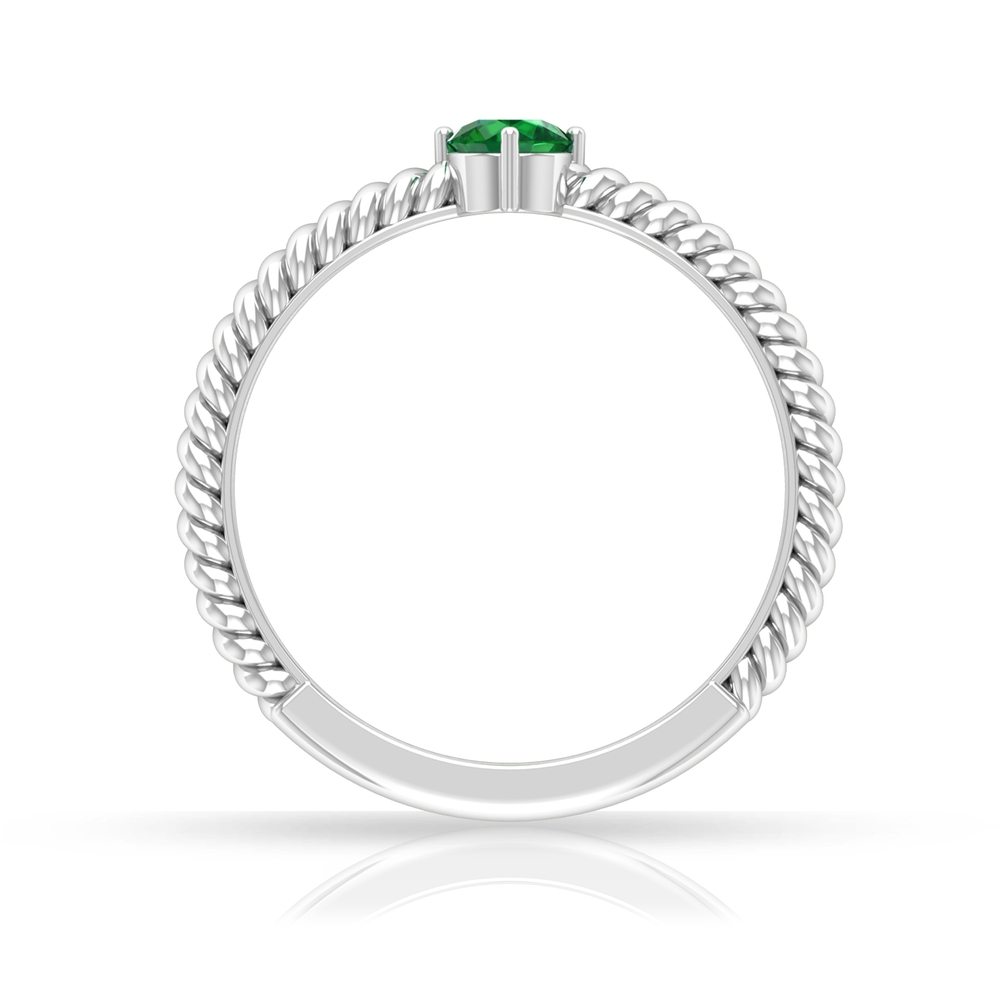 May Birthstone 4 MM Emerald Solitaire Ring in 4 Prong Diagonal Setting with Twisted Rope Frame