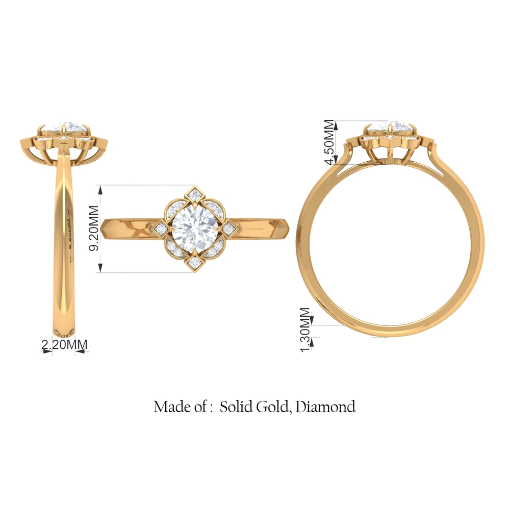 1/2 CT Prong Set Diamond Engagement Ring with Art Deco