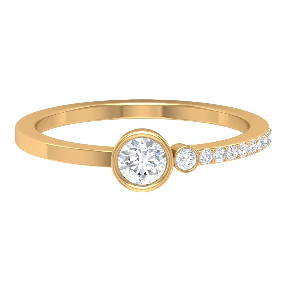 1/2 CT Bezel Set Diamond Solitaire Ring with Side Stone