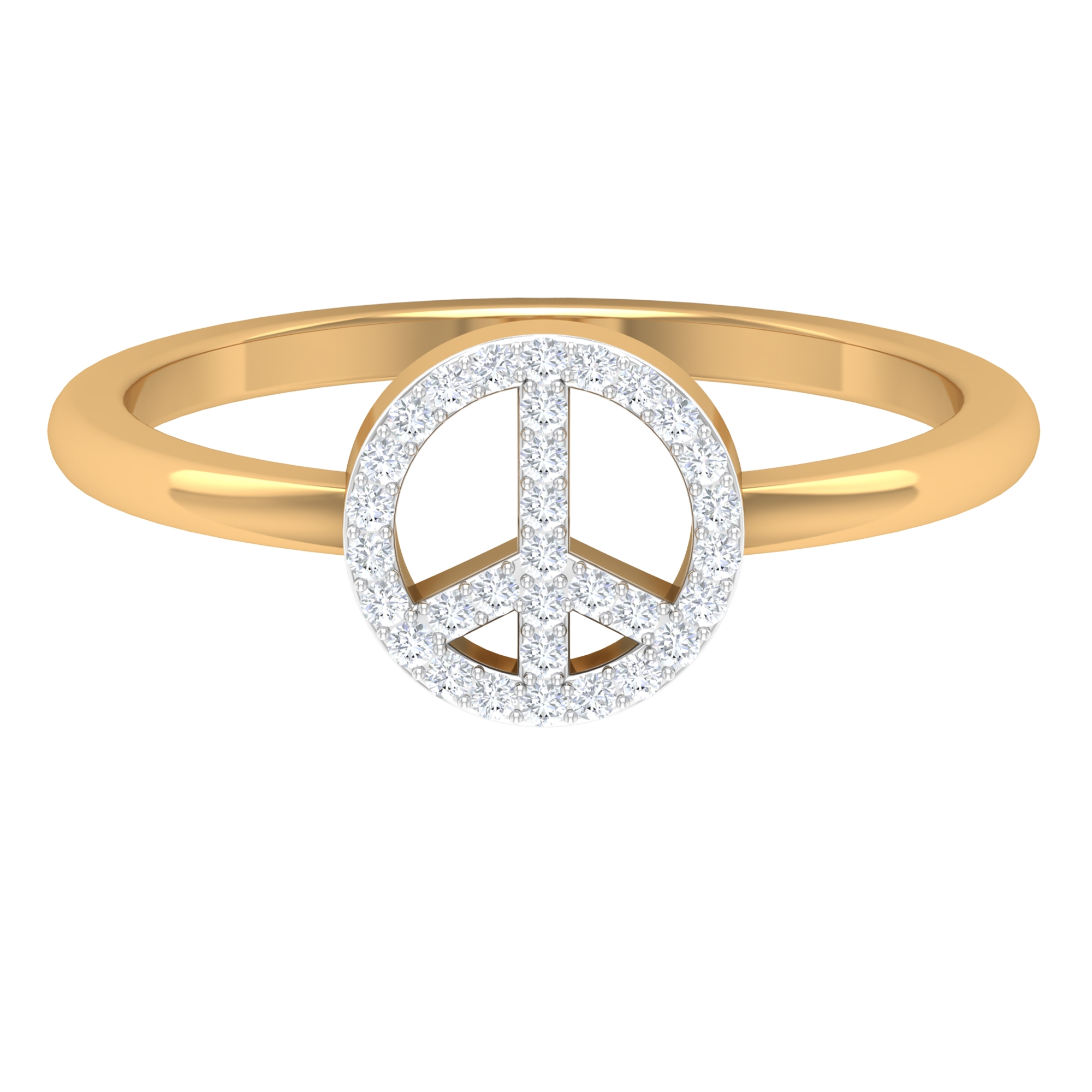 Round Cut Diamond Geometric Ring in Surface Prong Setting