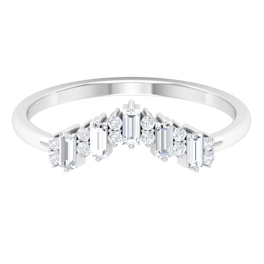 1/2 CT Baguette and Round Cut Diamond Ring Enhancer in Prong Setting