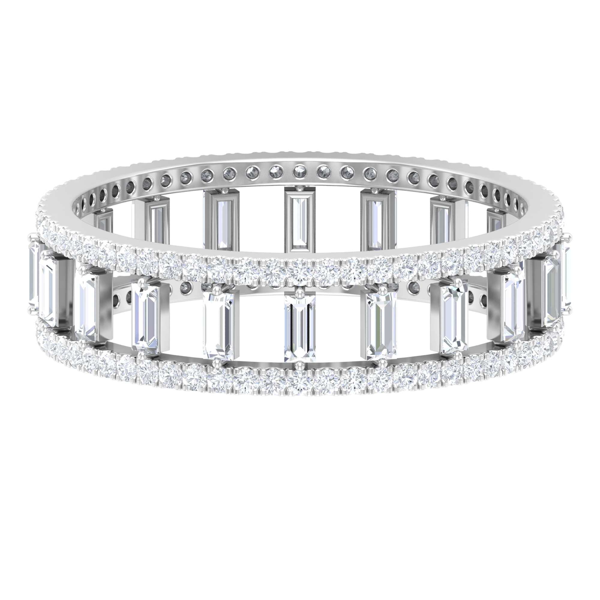 1 CT Baguette and Round Cut Diamond Classic Band Ring in Prong Setting