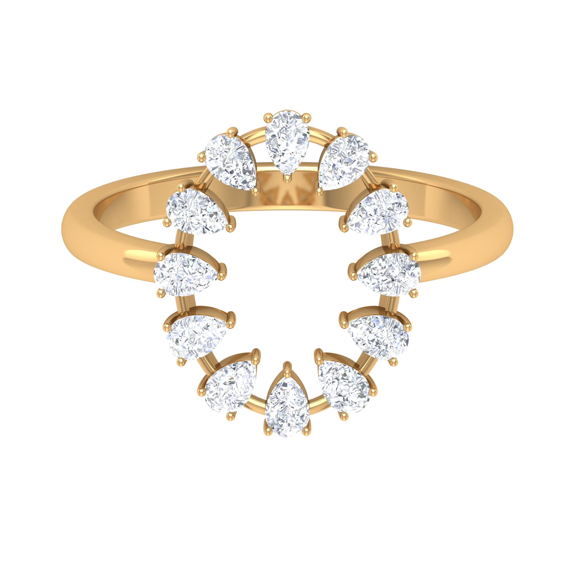 1/2 CT Pear Cut Diamond Open Oval Shape Ring in Prong Setting