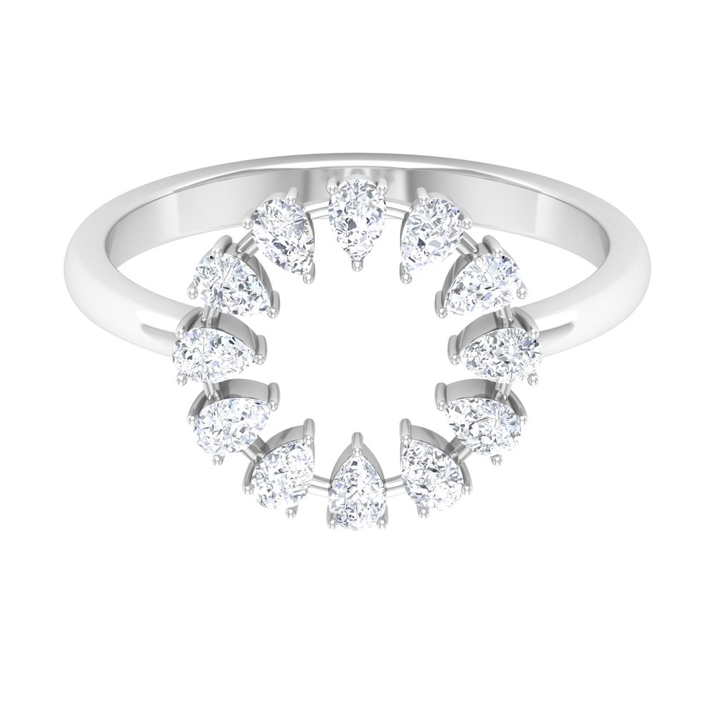 1/2 CT Pear Cut Diamond Open Round Shape Ring in Prong Setting
