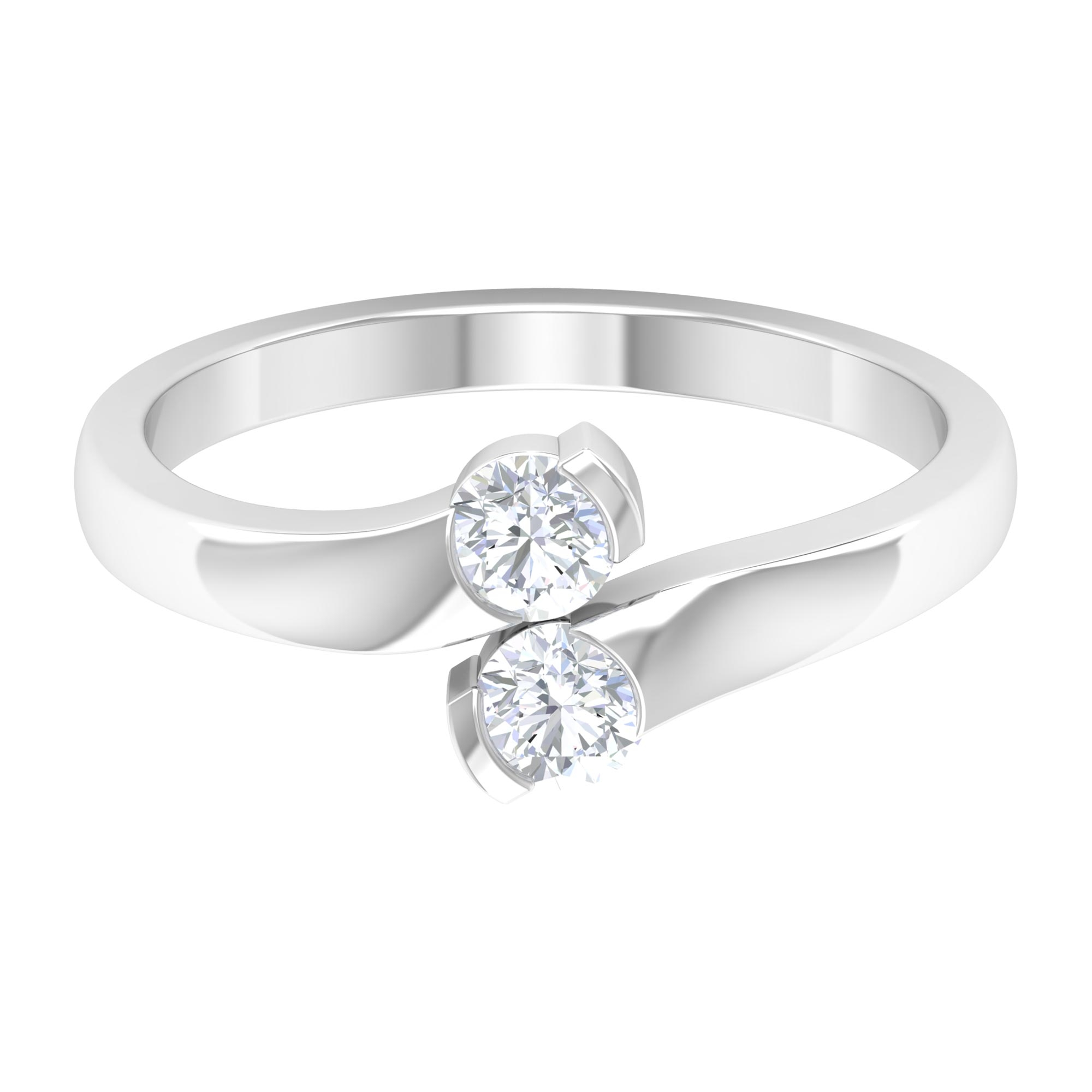 1/2 CT Round Cut Diamond Ring in Half Bezel Setting with Bypass Shank