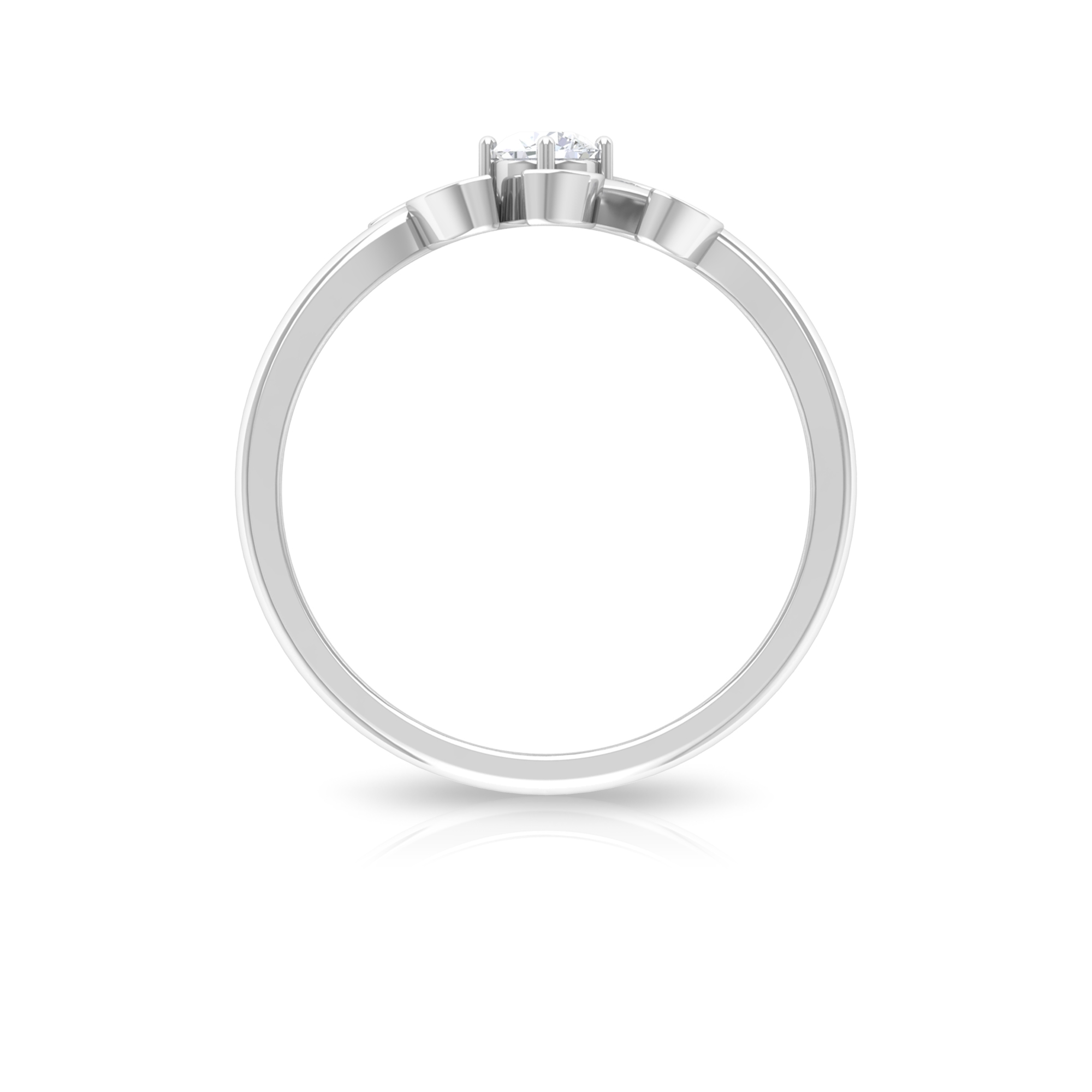 1/4 CT Round Cut Diamond Leaf Ring in Prong Setting