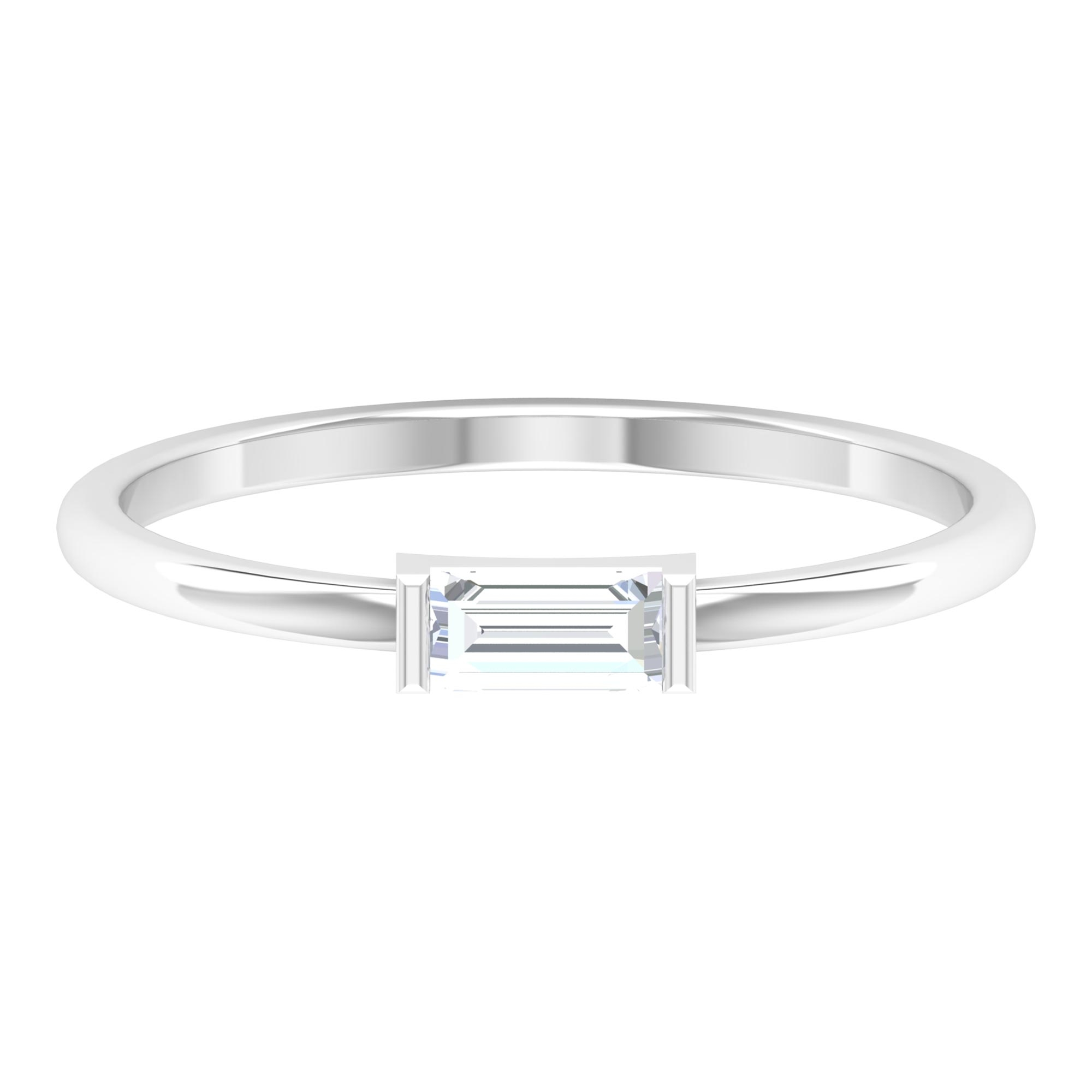 1/4 CT Baguette Cut Diamond Solitaire East West Ring in Bar Setting