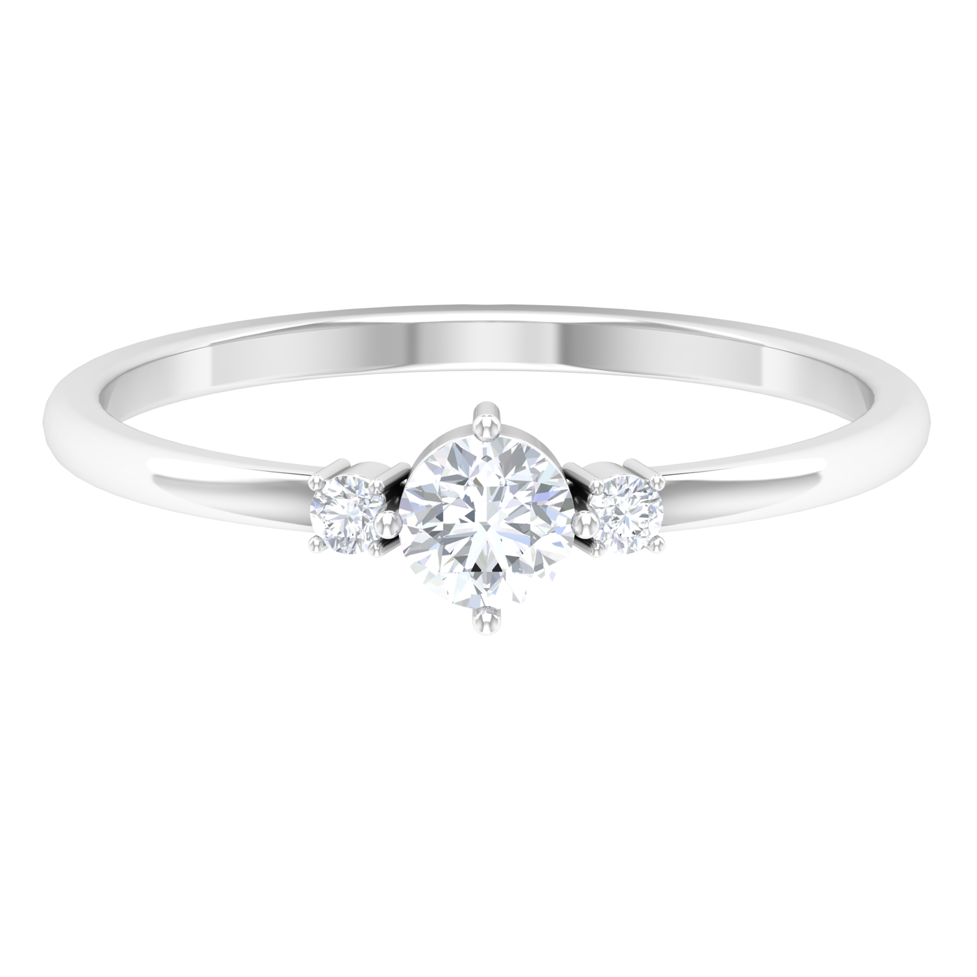 1/4 CT Round Cut Dainty Diamond Ring in Prong Setting