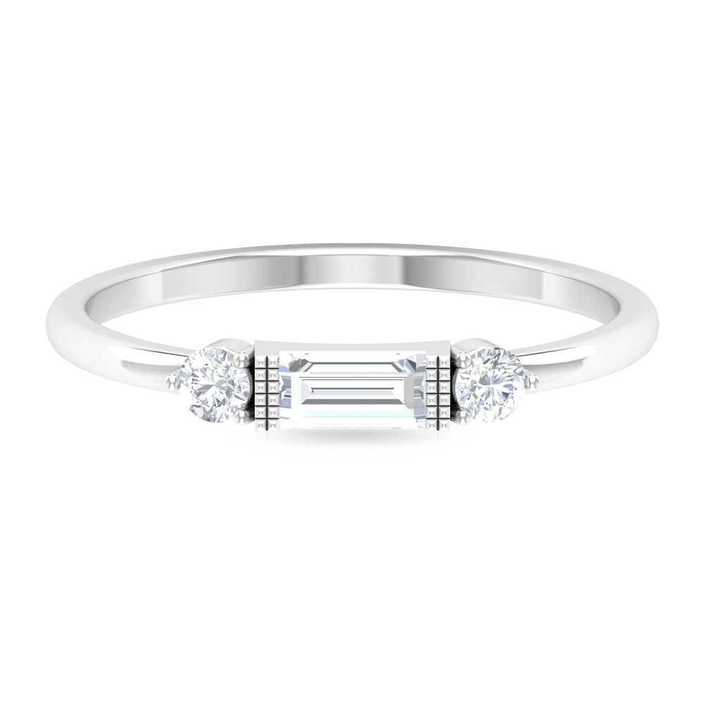 1/2 CT Baguette and Round Cut Diamond Stackable East West Ring in Prong Setting