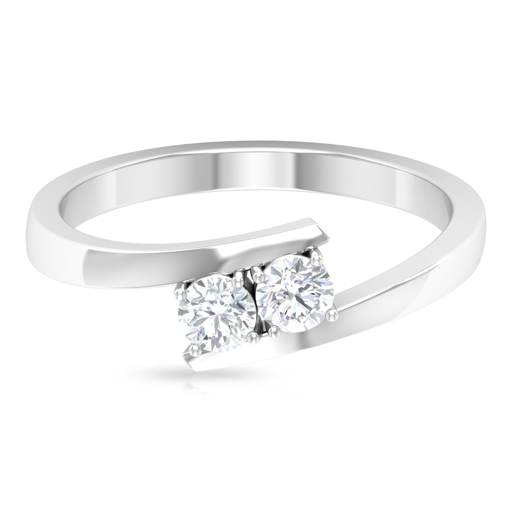 1/4 CT Simple Diamond Ring with Bypass Shank in Prong Setting