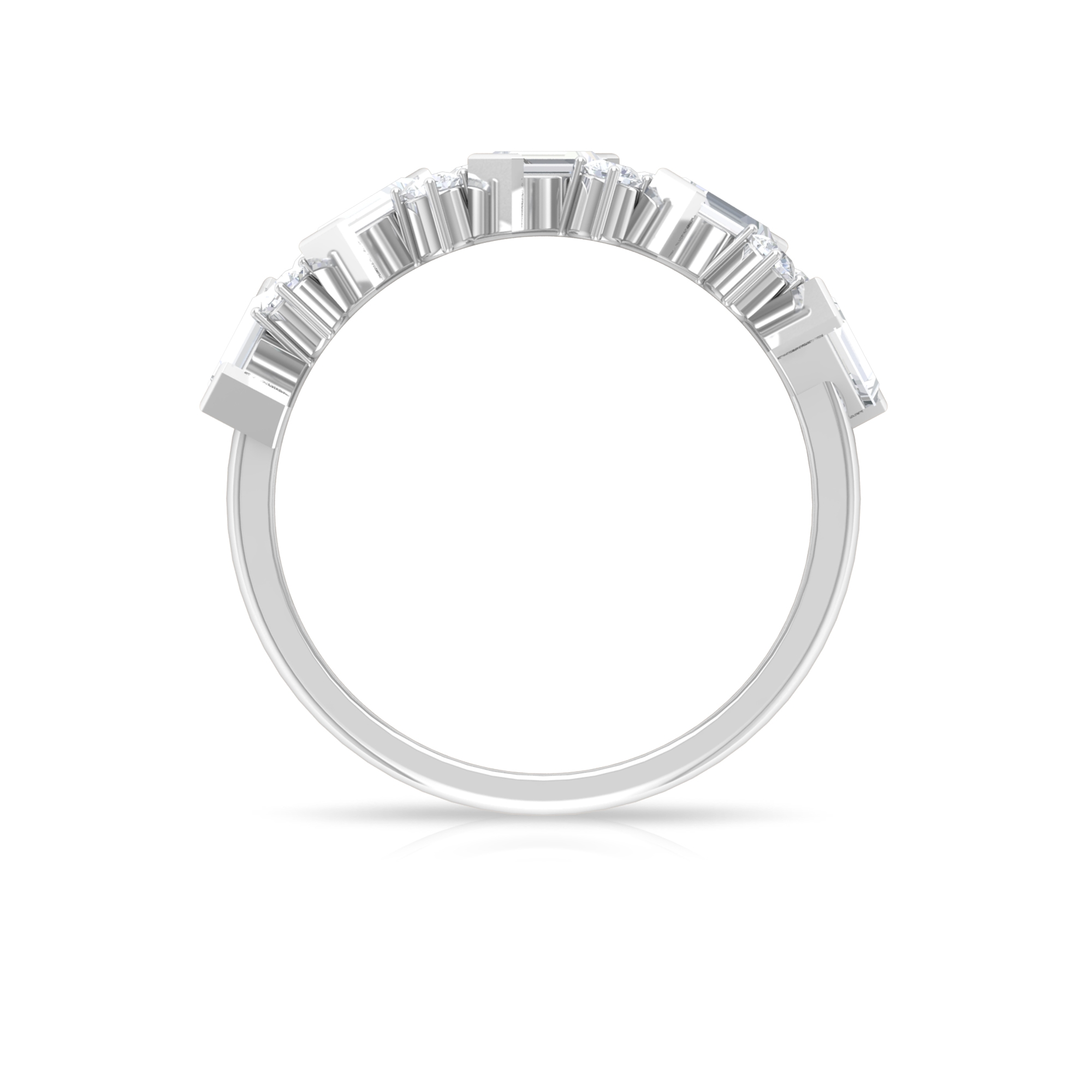 1 CT Round and Baguette Cut Diamond Semi Eternity Ring