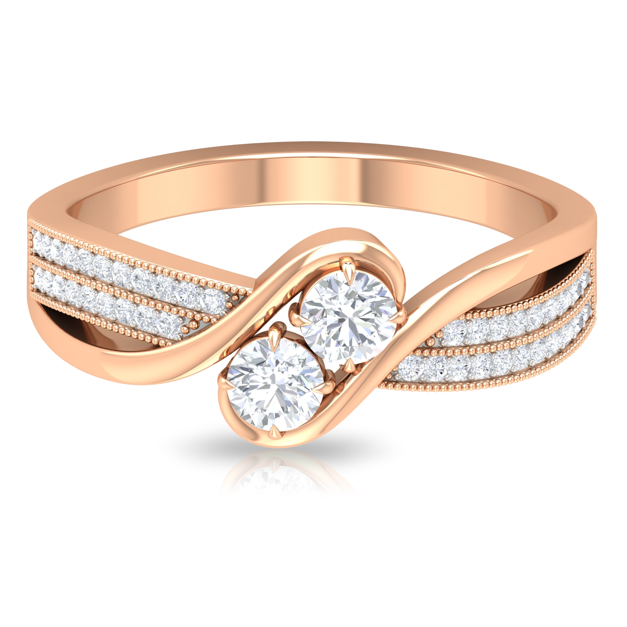 1/2 CT Diamond Designer Engagement Ring with Bypass Shank