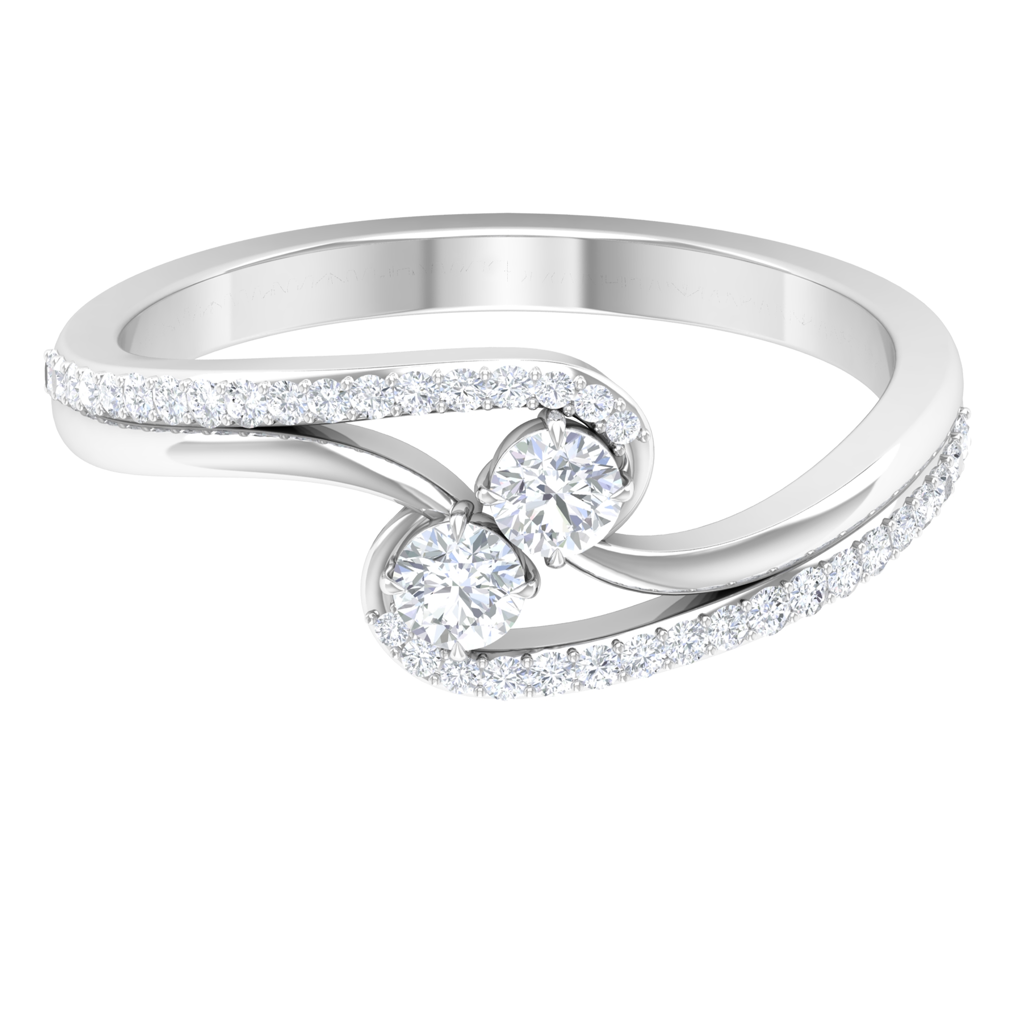 1/2 CT Classic Diamond Accent Ring with Bypass Shank