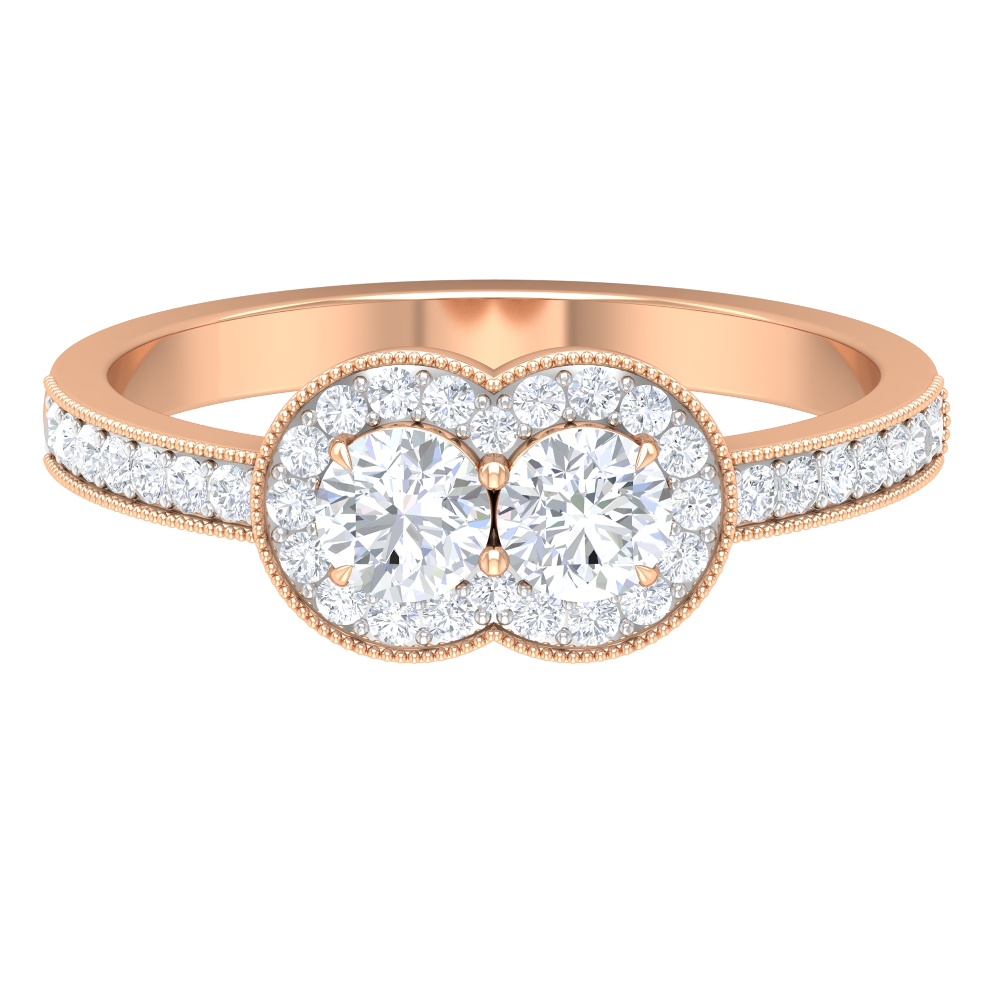 3/4 CT Diamond Accent Engagement Ring with Milgrain Details