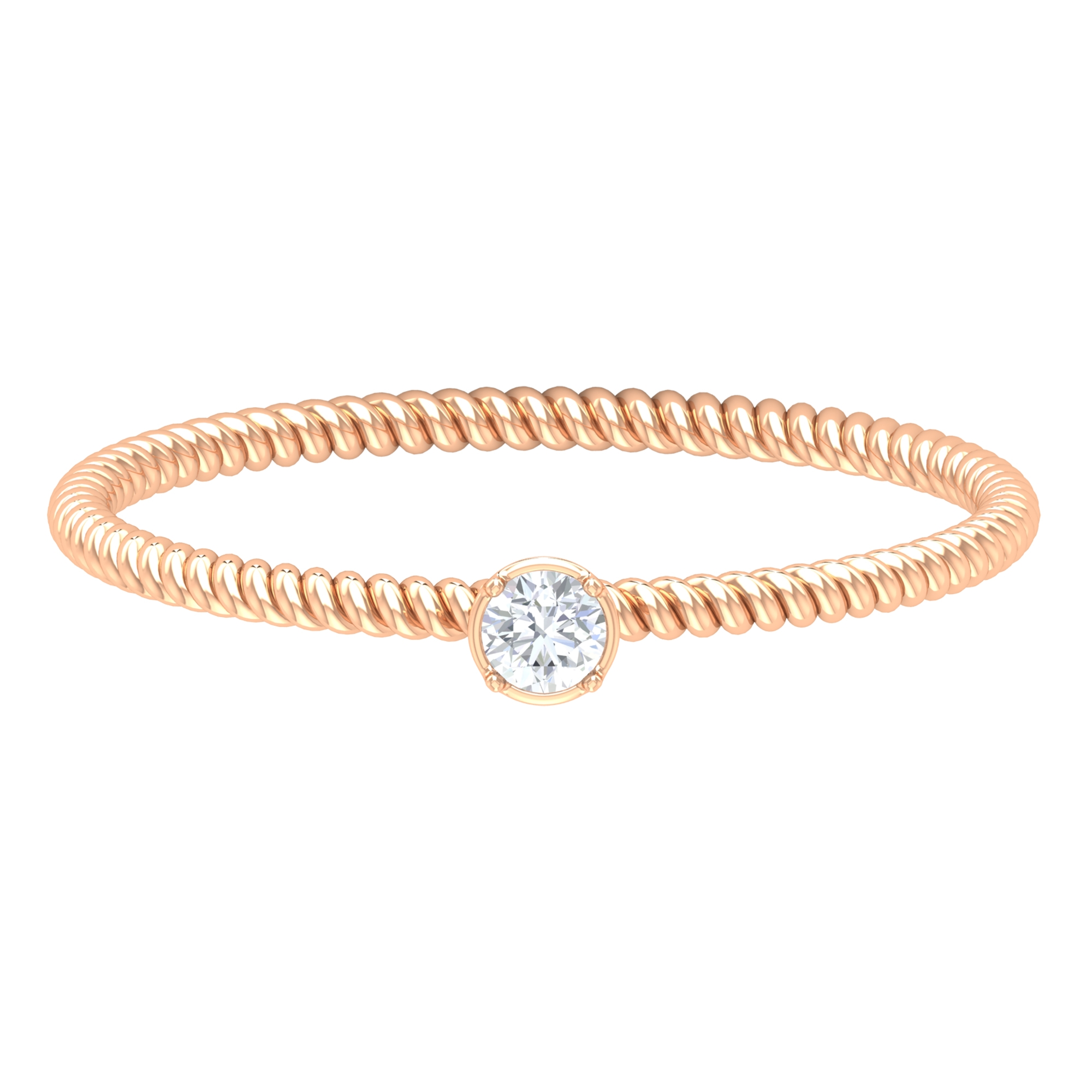 2.5 MM Round Cut Diamond Solitaire Ring in Scalloped Bezel Setting with Twisted Rope Details