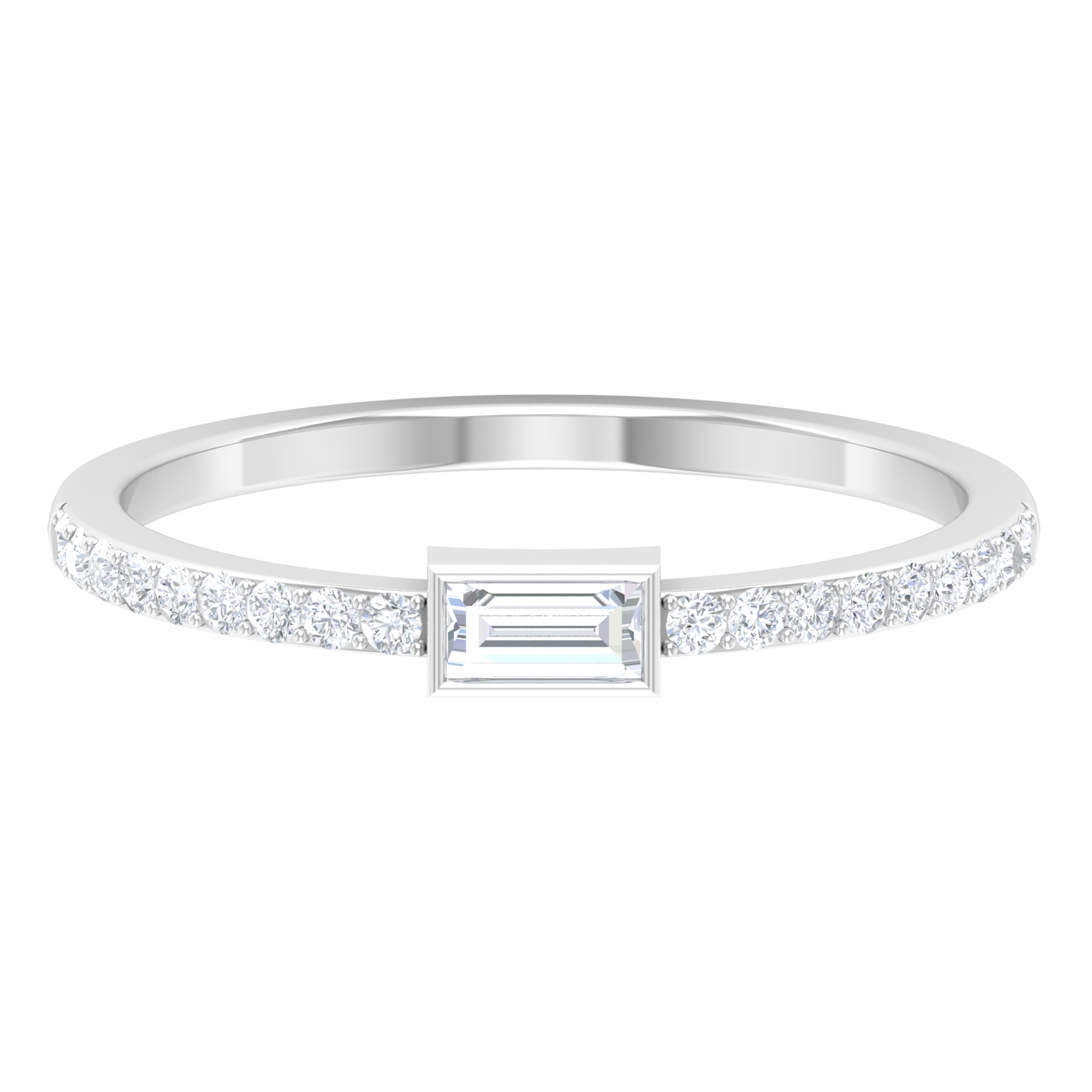 1/2 CT Baguette Cut Diamond Solitaire Ring with Surface Prong Set Side Stones