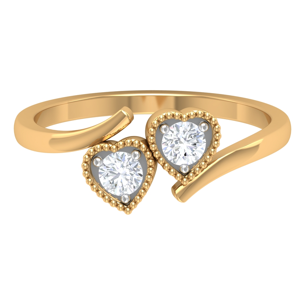 1/4 CT Round Shape Diamond and Gold Twin Heart Bypass Ring