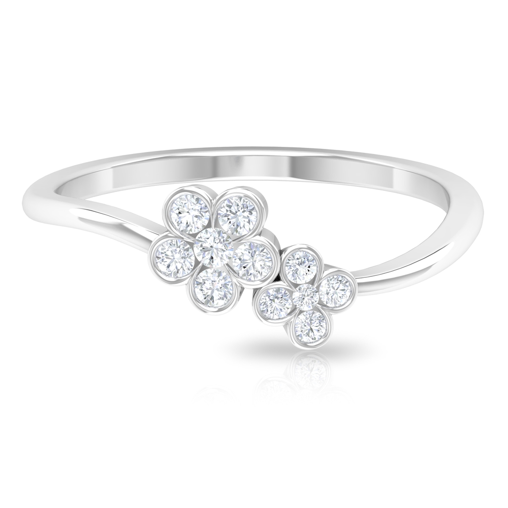1/4 CT Bezel Set Diamond and Gold Twin Floral Ring For Women
