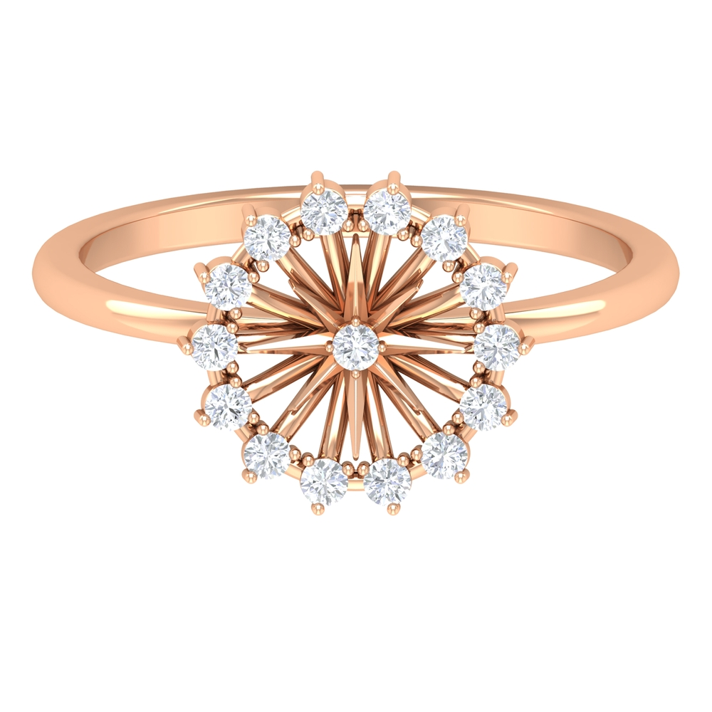 1/4 CT Prong Set Round Shape Diamond and Gold Flower Ring For Women
