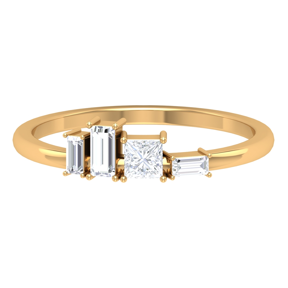 1/2 CT Baguette and Princess Shape Diamond Minimal Ring in Prong Setting