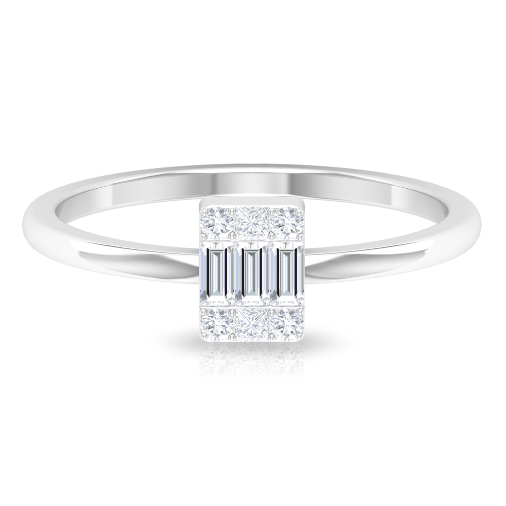 1/4 CT Baguette and Princess Cut Diamond Ring in Illusion Setting