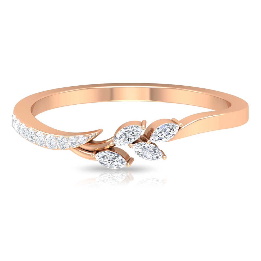 1/4 CT Stackable Diamond Leaf Ring in Prong Setting