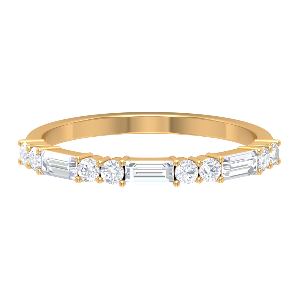 3/4 CT Baguette and Round Cut Diamond Semi Eternity Ring in Prong Setting