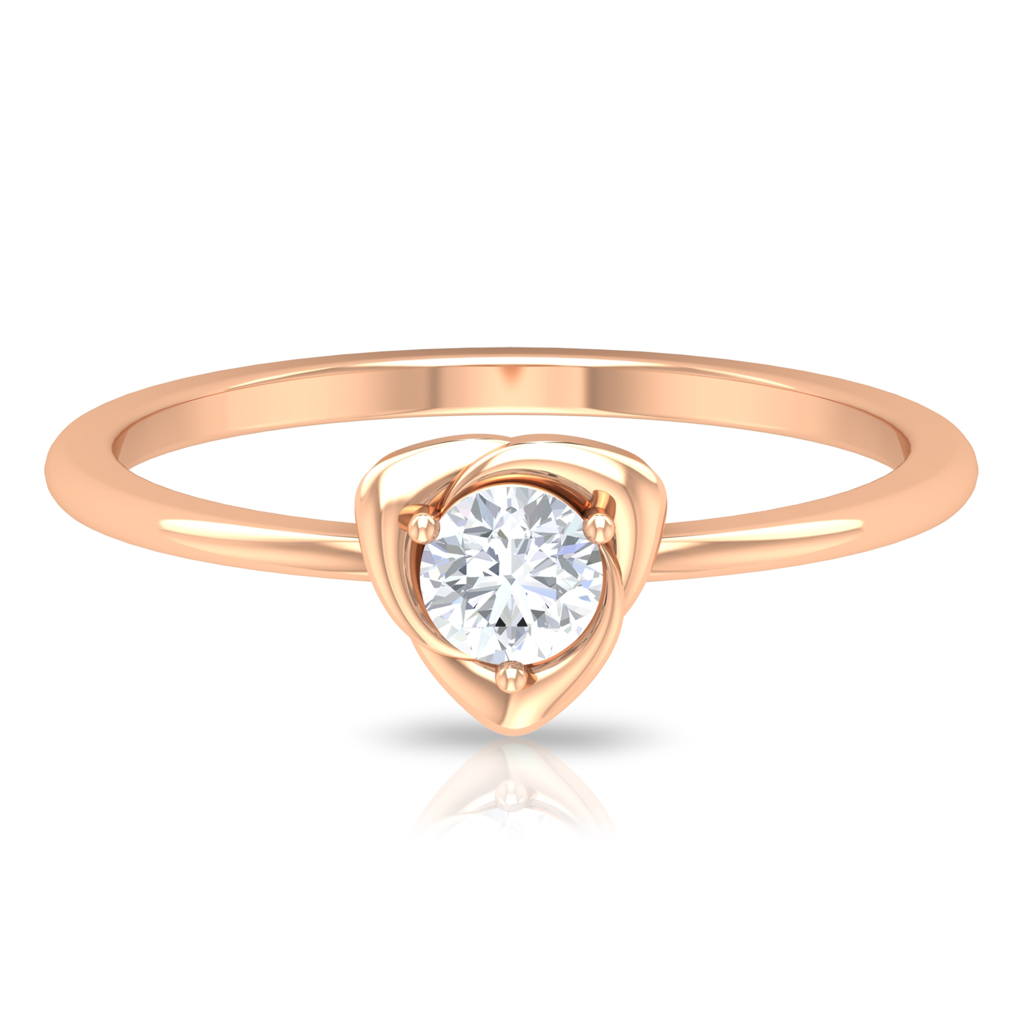 4 MM Round Cut Diamond Solitaire Flower Petal Ring in 3 Prong Setting