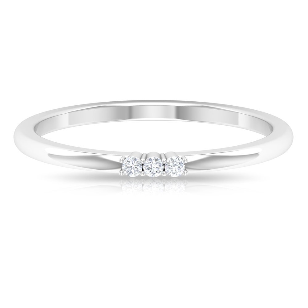 Two Prong Set Diamond Stackable 3 Stone Ring